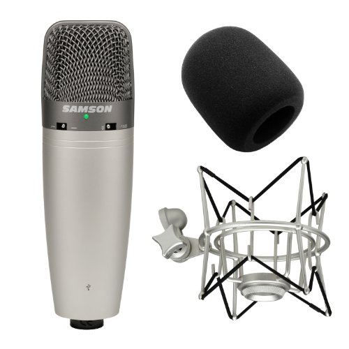 Samson C03Ucw Multipattern Usb Condenser Microphone With Sp01 Shock Mount And Mic Windscreen