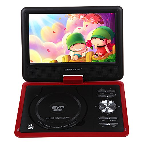 "9.5"" Portable Dvd Player Tv Usb Card Reader Fm Radio Games Swivel Lcd Tft (Red)"
