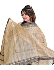 Exotic India Plain Almond-Buff Dupatta From Jharkhand With Woven Stripes - Beige