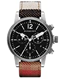 Burberry BU7815 Men's Utilitarian Swiss House Check Leather Strap Black Dial Chronograph Watch