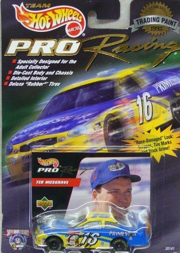 Hot Wheels - Pro Racing - NASCAR - 1998 - Trading Paint - Ted Musgrave - No. 16 PrimeStar Ford Taurus - 1:64 Scale Die Cast Replica Car and Collector Card