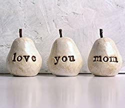 Mother's Day gifts ... White love you mom pears ...Three handmade clay pears for gift giving