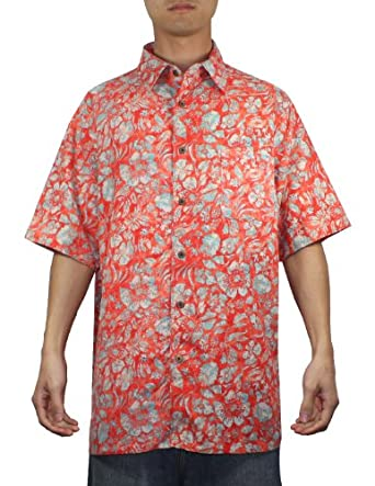 Mens hawaiian short sleeve 100 silk camp shirt xxl for Mens short sleeve camp shirts