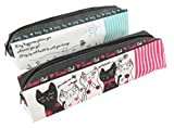 Cat Sunny Day Pencil Pen Cosmetic Case Pouch Bag 7 1/4 x 2 Pink Teal White (Set of 2)