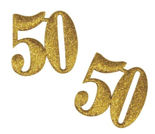 """RAYHER - Stoff-Jubiläumszahl """"50"""", 33 mm, Beutel 2 Stück, gold"""