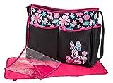 Disney Minnie Mouse Floral Print Large Hobo Diaper Bag, Black/Pink