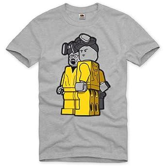 style3 Breaking Bad T-Shirt Herren heisenberg tv serie lego walter white meth crystal, Größe:S;Farbe:Grau meliert