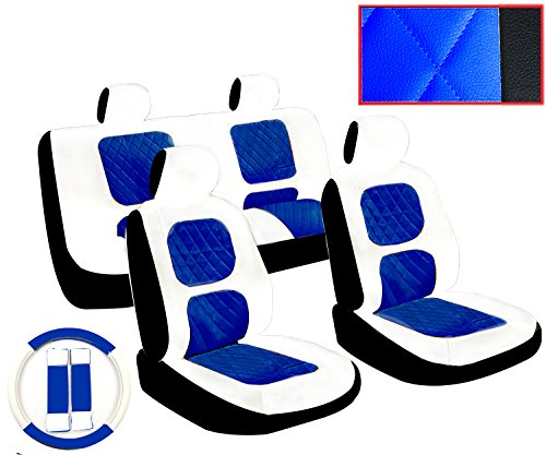 Premium 13 Piece Luxury White and Blue Diamond Stitching Universal Faux Leather Car Seat Cover Set w/ Steering Wheel & Seat Belt Pads (Blue And White Seat Covers compare prices)