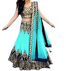 Astha bridal women designer banglory silk lehenga(blue rose lehenga-1_blue_42)