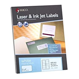 MACO White Laser/Inkjet Shipping & Address Labels, 2 x 4, 1000/Box