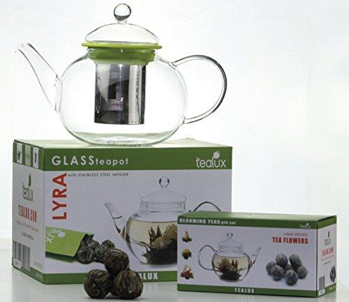 Lyra 34 Oz Blooming Glass Teapot W/ Loose Tea Infuser, 12 Flowering Teas & 50G Bag Of Tea