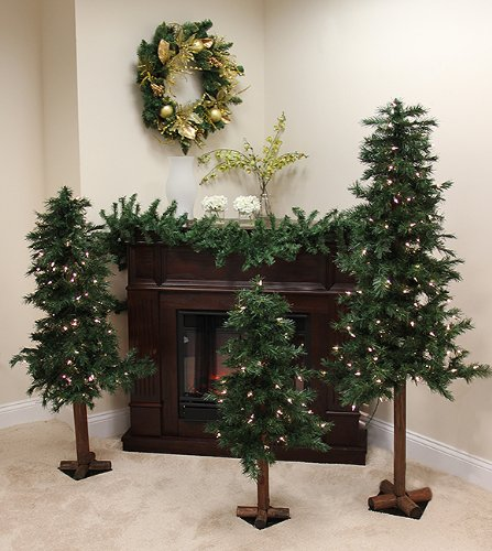Set of 3 Pre-Lit Woodland Alpine Artificial Christmas Trees 3', 4', 5' - Clear