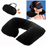 Inovera 3 in 1 Tourist Treasure Travel Kit-Eye Mask+ Inflatable Pillow + Ear Plug