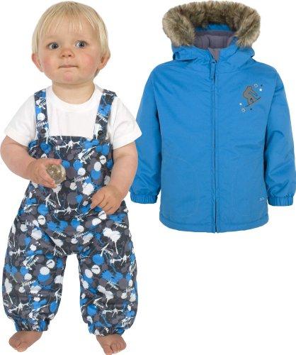 Boys TRESPASS BABU Blue Ski Jacket & Salopettes Pants Snow Suit Set Ages 6-12 Months