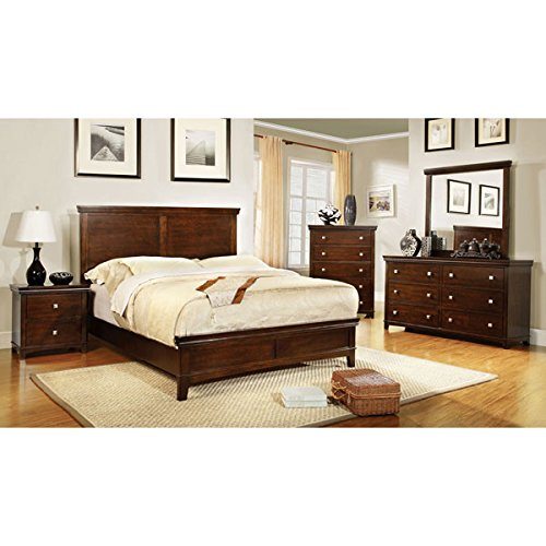 Cute Dunhill Transitional Style Brown Cherry Finish Eastern King Size Piece Bedroom Set
