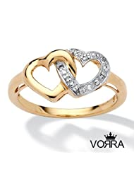 14K Gold Plated 925 Sterling Silver Round CZ Double Heart Promise Ring Size 5 6