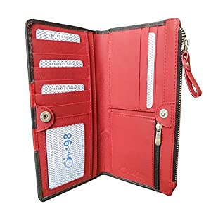 Exclusive Diwali Gift -Style98 Black and Red Traveller Genuine Leather Tri Fold Money Wallet with 10 Card Slots for Women