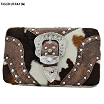 Western Women Frame Buckle Wallet Cow Print Brown Trim