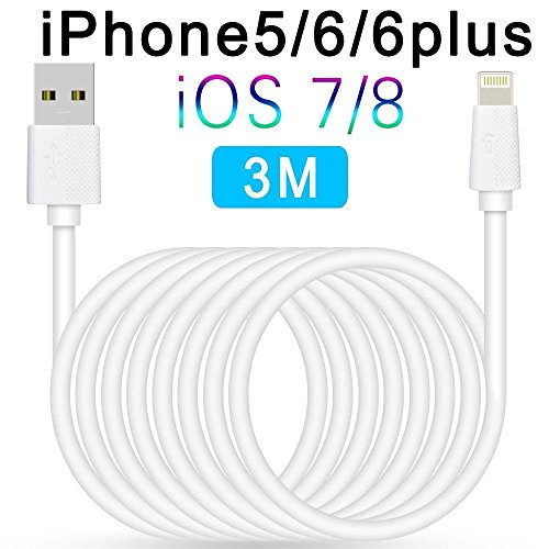 [Certification Apple MFi] --LP® Câble Lightning vers USB Certifié Apple pour iPhone 6S iPhone 6S Plus iPhone 6, iPhone 6 Plus, iPhone 5, iPad mini, iPad 4, iPod 5 et iPod nano 7etc (Blanc-3m)