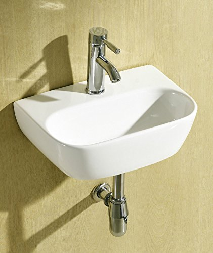 Pandora Small Compact Round D Shaped Oval Cloakroom Basin Bathroom Sink Wall Hung 420 X 290