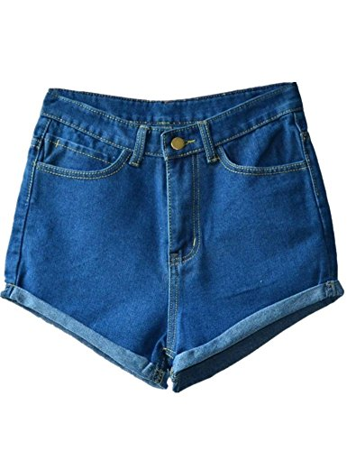 Allegrace Womens Summer Vintage Short Jeans Cuffed Denim Shorts Hot Panties Dark Blue S (Vintage High Waisted Jean Shorts compare prices)