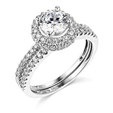 buy 14K White Gold Solid Wedding Engagement Ring And Wedding Band 2 Piece Set - Size 5