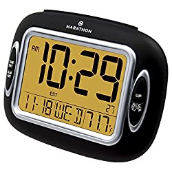 MARATHON CL030051BK Atomic Alarm Clock With Temperature & Date - Batteries Included