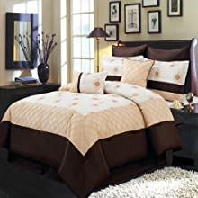 Madison Gold Ivory and Chocolate Cal-King size Luxury 8 piece comforter set includes Comforter bed s