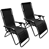 2 X Odaof Adjustable Zero Gravity Recliner Lounge Patio Backyard/Beach/Pool Chair C2(Black)