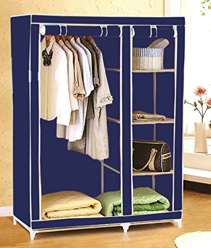 Everything Imported 3.5 feet Folding Wardrobe Cupboard Almirah Foldable Storage Rack Collapsible Cabinet  available at amazon for Rs.1765
