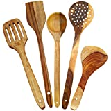 Worthy Shoppee Handmade Wooden Serving And Cooking Spoon Kitchen Tools Utensil, Set Of 5