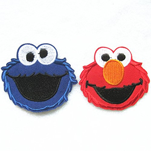 [FairyMotion 2Pcs Sesame Street Elmo Patch Embroidered Cartoon Iron On Sew On Patches Fabric Applique Motif Decal Perfect] (Angel Costume Tumblr)