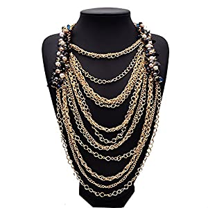 Girl Era Elegant Simple Chain Gorgeous Multilayer Tassels Choker Egyptian Style Party Necklace Ladys Womens(gold)