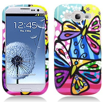 Colourful Butterfly Hard Rubberized Plastic Protector Case Cover For Samsung Galaxy S3 I9300 - AT & T / Verizon / Sprint / T-mobile at Gotham City Store