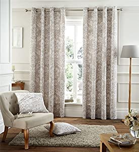 """Cream Beige Floral 66x72"""" 168x183cm Cotton Blend Lined Ring Top Curtains Drapes by Curtains"""