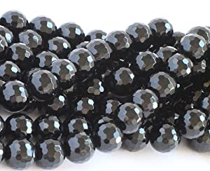 Black Onyx 8mm Round Faceted Beads Strand 15""
