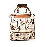 #7: Di Grazia 2 Wheel Overnight Travel Tote, Cabin Luggage Bag, Weekend Trolley Bag (Eiffel Tower Design, Paris-2wheel-Large-Cabin-Trolley)