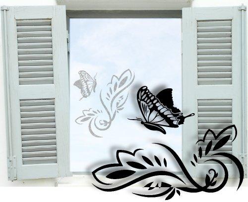 XL Fenstertattoo selbstklebend ~ Blumenranke Schmetterling - Blumen - Schnörkel ~ glas022-80x57 cm 600084 Aufkleber für Fenster, Glastür und Duschtür, Glasdekor Fensterbild, wasserfeste Glasdekorfolie in Sandstrahl - Milchglas Optik