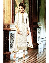 Dee's Alley Women Faux Georgette Salwar Suit Set (Vf47640K78P _off White _Free Size)