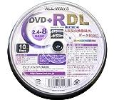 ALL-WAYS DVD+RDL8.5GB片面2層式ワイドプリンタブル2.4-8倍速スピンドルケース10枚入り ADL+8X10PW