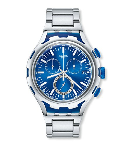 Swatch Endless Energy Chronograph Blue Dial Aluminium Mens Watch YYS4001AG swatch mire noire mens watch yws411g