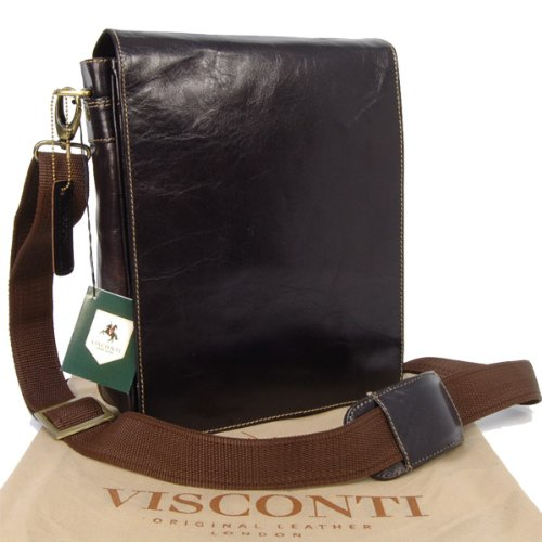 Visconti Mocha Leather Hunter Messenger Bag - 18563