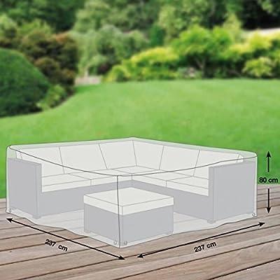 Premium Schutzhülle für Eck-Loungegruppe aus Polyester Oxford 600D - lichtgrau - von 'mehr Garten' - Größe M (237 x 237 cm) von Schutzhüllenprofi bei Gartenmöbel von Du und Dein Garten