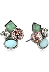 Sorrelli Sky Blue Peach Classic Crystal Cluster Antique Silver-Tone Stud Earrings