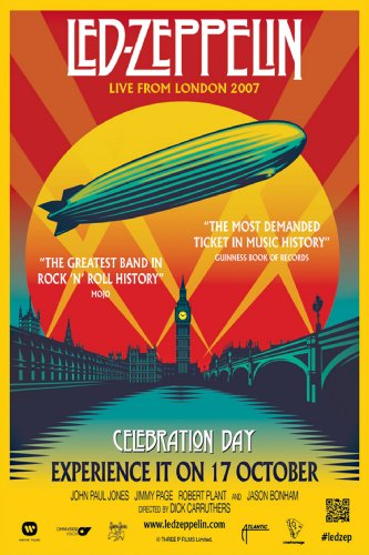 "Stampa su poster in tema ""Led Zeppelin Celebration Day"", dimensioni approssimate 30,48 x 20,32 cm"