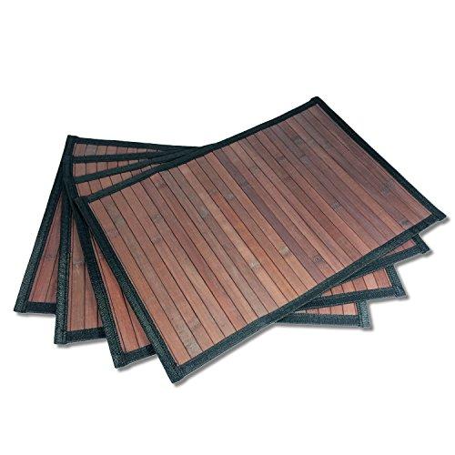 Stylish Wide Slat Bamboo Placemat – Dark Brown – Black Border, 4pc Set