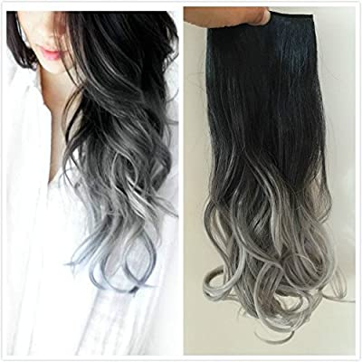 One piece 3/4 Full Head Clip in Hair Extensions Ombre One Piece 2 Tones Wavy Curly (black to grey)