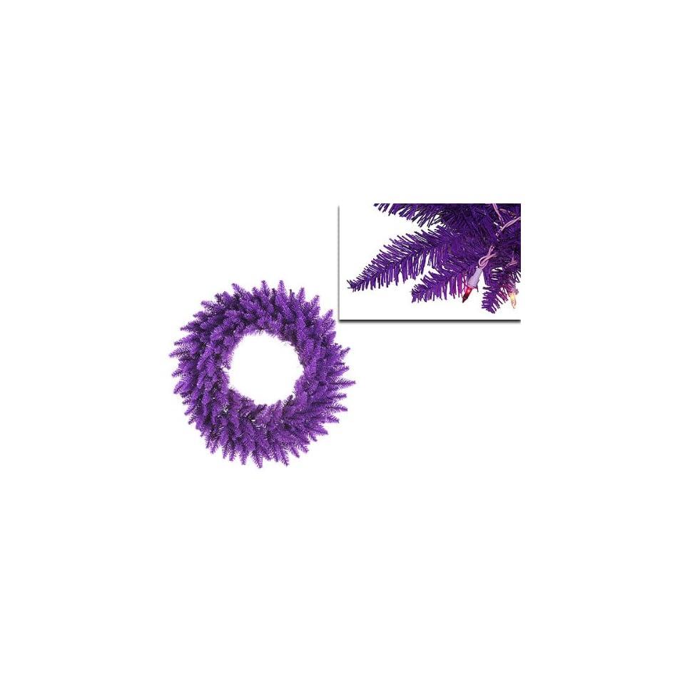 36 Pre Lit Purple Ashley Spruce Christmas Wreath   Clear & Purple Lights
