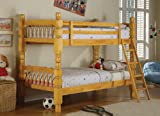 Honey Finish Solid Pine Wood Twin Size Bunk Bed (Bunkbed)