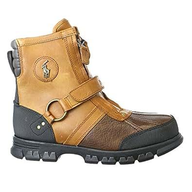 POLO Ralph Lauren Mens Conquest HI Leather Boot, Briarwood-Tan, 11